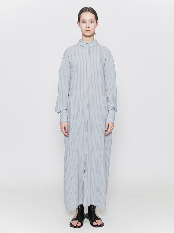 Striped Shirts Dress Dusty Blue