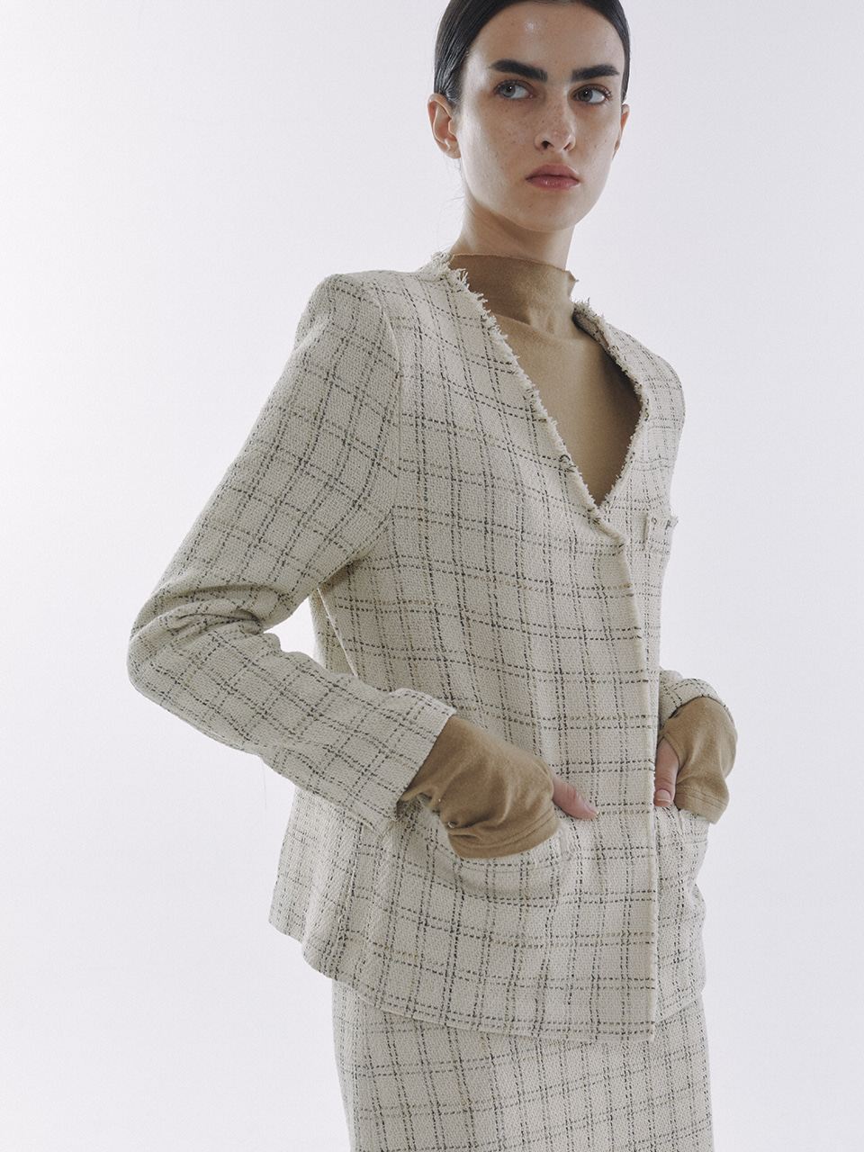 Line Tweed Jacket Ivory