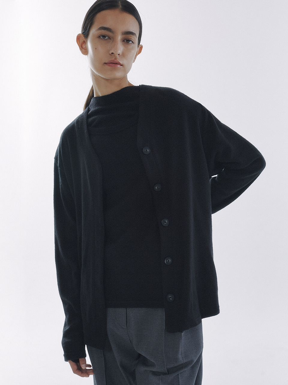 Knitted Jersey Cardigan Black
