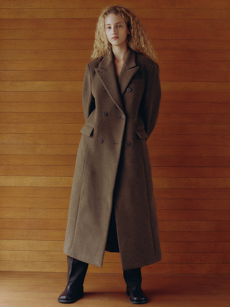 Wool Blended Classic Double Coat Mocha Brown
