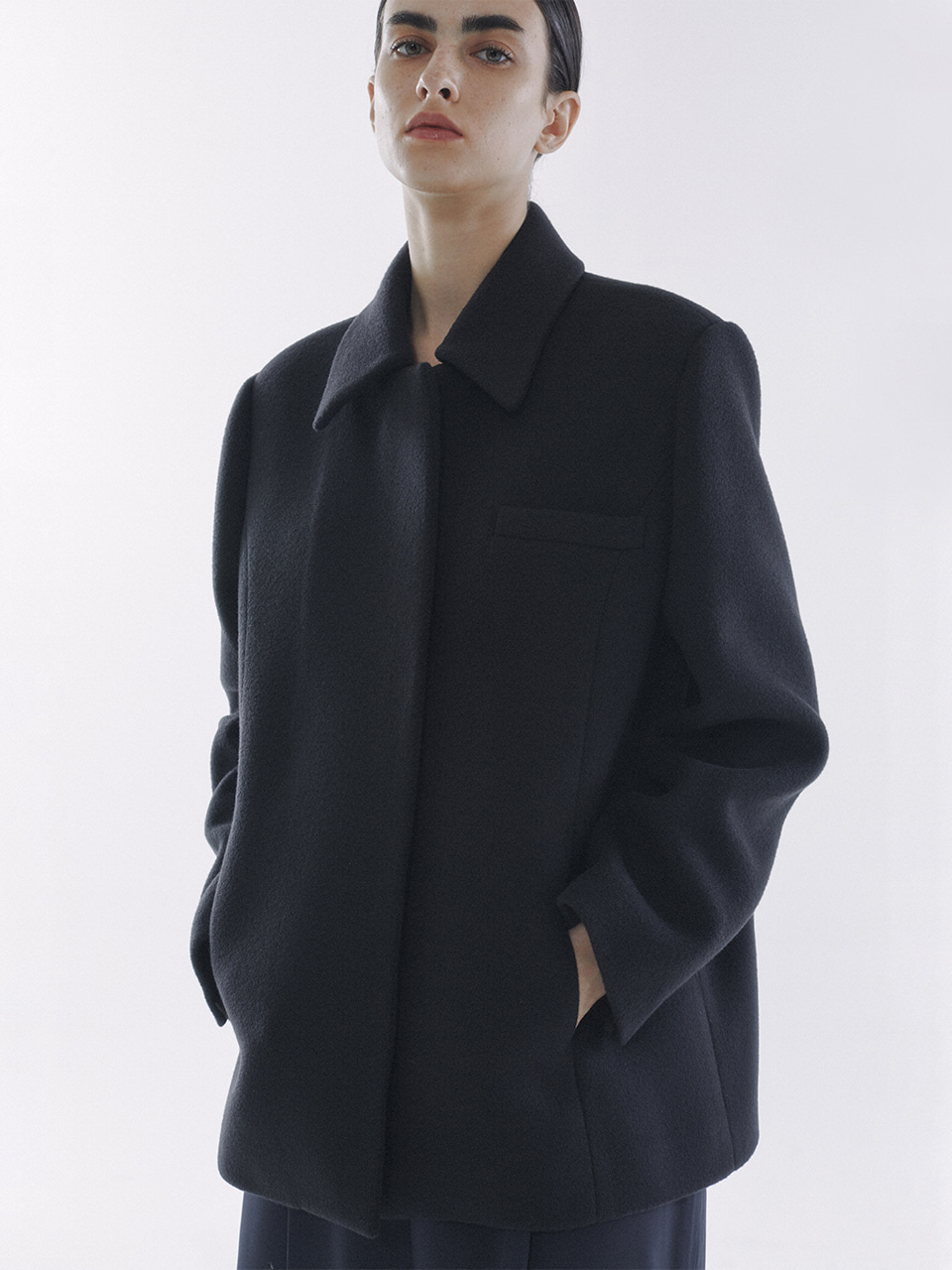 Balmacaan Half Coat Charcoal Navy