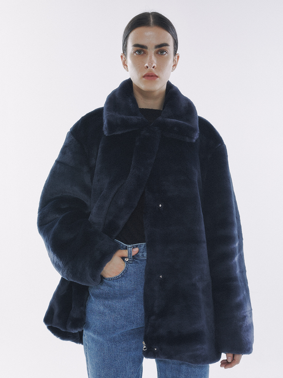 Eco Fur Half Coat Navy
