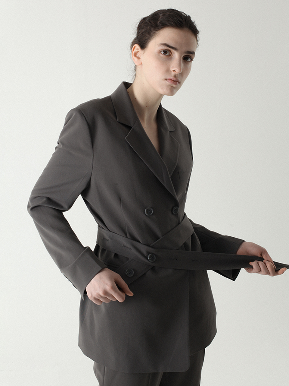 Belted Double Blazer Charcoal